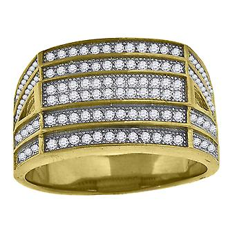 925 Sterling Silver Yellow tone CZ Cubic Zirconia Simulated Diamond Cluster Mens Fashion Ring Band Jewelry Gifts for Men