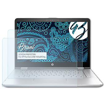 Bruni 2x Protecteur d'écran compatible avec HP Pavilion x360 14-ba013ng Écran protecteur
