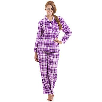 Camille Lilac And Pink Checkered Full Length Button Front Wincy Pyjama Set
