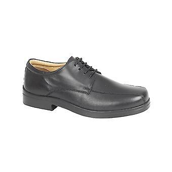 Roamers Black Softie Leather Xxx Extra Wide 4 Eye Tramline Gibson Shoe