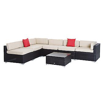 Outsunny 7 PC Garden Rattan Furniture Set Patio Outdoor Sectional Wicker Weave Sofa Seat Coffee Table w/ Cushion and Pillow Buckle Structure