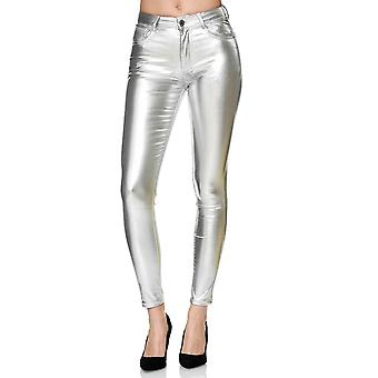 Ladies Silver High Waist Pant Stretch Shaping Stretch Skinny Shiny Jeggings