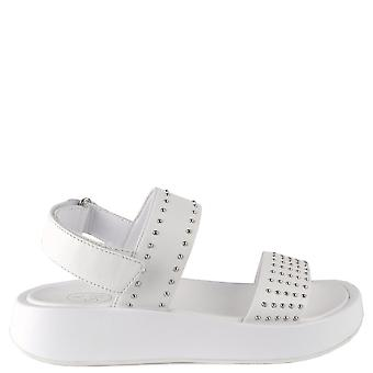 Ash VIVI White Leather Sandals With Silver Studs