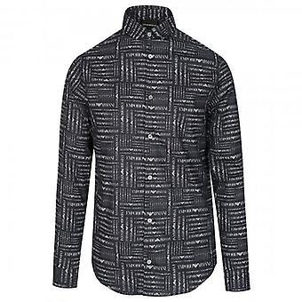 Emporio Armani L/S Logo Print Shirt Schwarz 3H1C61 1N83Z