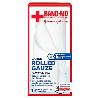 Band-aid first aid rolled gauze, large, 4 inch x 2.5 yards, 1 ea