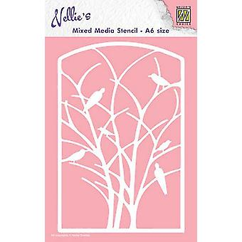 Nellie's Choice A6 Mixed Media Stencil - Frame Birds In Tree