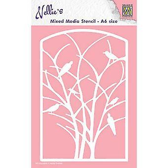 Nellie & apos;s اختيار A6 استنسل الوسائط المختلطة - الطيور الإطار في شجرة
