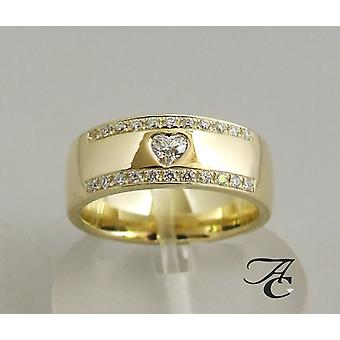 14 carat yellow gold hearts ring with diamonds