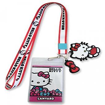 Insignia de identificación de Hello Kitty y Charm Lanyard