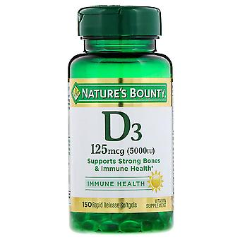 Nature's bounty vitamin d3, 5000 iu, softgels, 150 ea