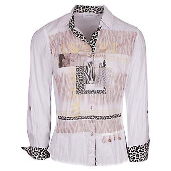 Just White White Long Sleeve Fitted Shirt With Animal Print Detail