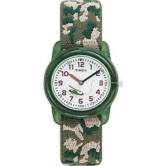 Timex barn barnas ur med hvit ring Display og grønne tekstilstroppen sitter (T78141)