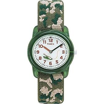 Relógio Timex Kids infantil com Display mostrador branco e bracelete têxtil verde (T78141)