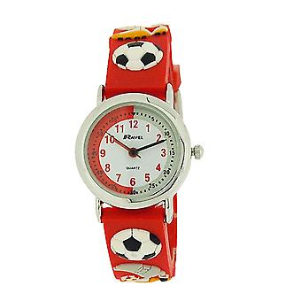 Ravel Time Teacher Kids Football Red Rubber Watch + Telling Time Award R1513.32R