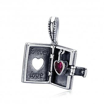 Sterling Silver Pendant Charm Book With Heart - 5836