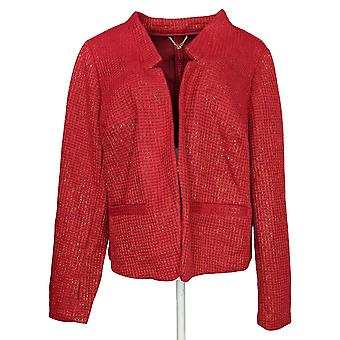 C. Wonder Women's Plus Suit Jacket/Blazer Long Sleeve Knit Red A284190