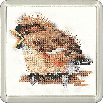 Heritage Crafts Little Friends Coaster Cross Stitch Kit - Sparrow
