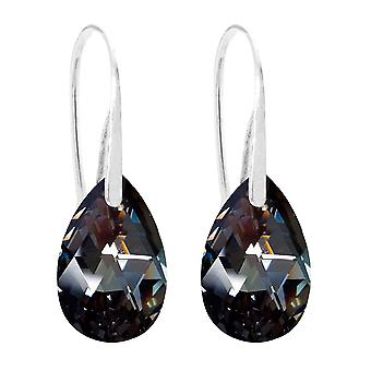 Ah! Jewellery Women's 16mm Silver Night Pear Crystals Fish Hook Earrings. Sterling Silver, Stamped 925. 3gr Total Weight.