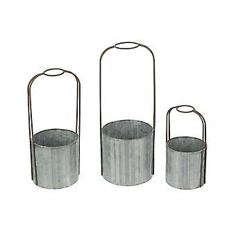 Galvanized Zinc Finish 3 Piece Rustic Metal Candle Holder Set