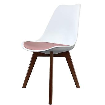 Fusion Living Eiffel Inspired White And Blush Pink Dining Chair With Squared Dark Wood Legs