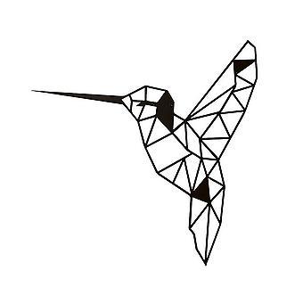 Color de pájaro negro pared decoración en acero 44x0.15x44 cm
