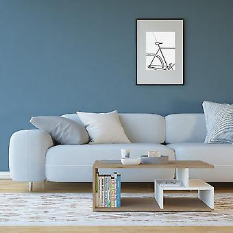 Salontafel' Denver Color Natural Wood, Wit in Melaminic Chip 80x50x30 cm