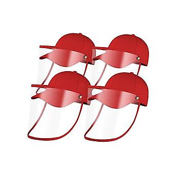 4X Utomhus Hatt Anti Dimma Damm Saliv Cap Face Shield Cover Kids Red