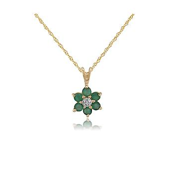 Floral Round Emerald & Diamond Cluster Pendant Necklace in 9ct Yellow Gold 10506
