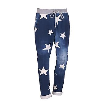 Womens Star Print Soft Slouch Trousers | Denim | One Size