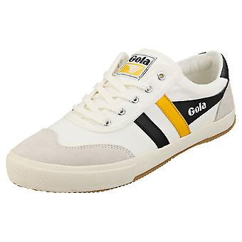 Gola Badminton Mens Casual Trainers in White Black Yellow