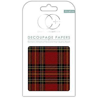 Craft Consortium Tartan Decoupage Papers
