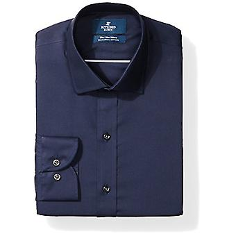 BUTTONED DOWN Men's Slim Fit Stretch Poplin Non-Iron Dress Shirt, Navy, 15