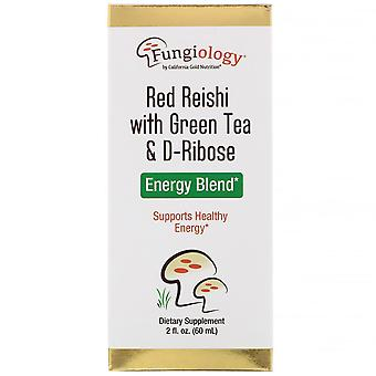 California Gold Nutrition, Fungiology, Red Reishi mit Green Tea & Ribose, Energ