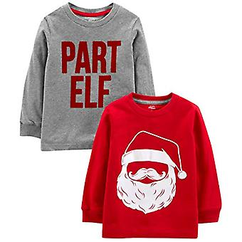 Simple Joys by Carter's Boys' Toddler 2-Pack Christmas Long-Sleeve Tees, Sant...