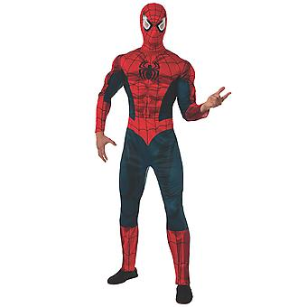 Spider-Man Spiderman Deluxe Muscle Marvel Classic Superhero Mens Costume