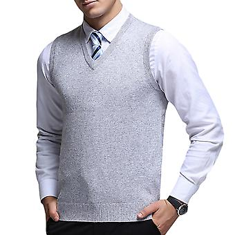 Allthemen Men's Casual Classic Autumn V-neck Solid Knitted Sweater Vest