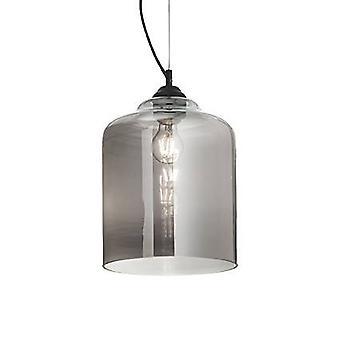 Ideal Lux Bistro' - 1 Light Dome Deckenanhänger schwarz, rauchig grau, Glasquadrat, E27