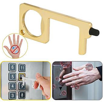Kupfer Aluminiumlegierung Anti-Touch Türöffner Schlüsselanhänger, Griff Presse Aufzug