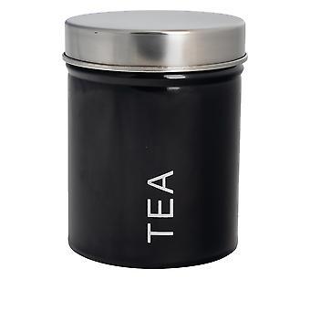 علبة الشاي المعاصرة - الصلب مطبخ مخزن العلبة مع ختم المطاط - أسود