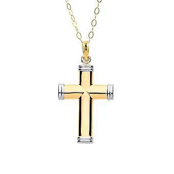 Eternity 9ct 2 Colour Hollow Tube Plain Cross Pendant Og 16'' Chain
