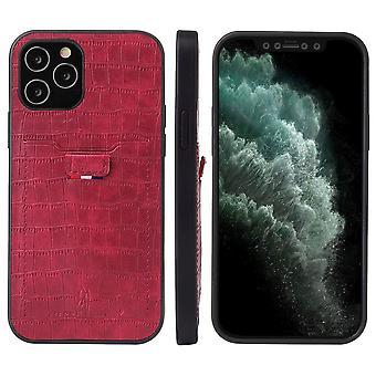 עבור iPhone 12 מגן מיני תנין דפוס PU כרטיס חריץ כרטיס אדום