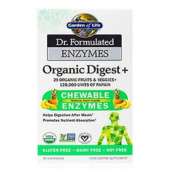Garden of Life Dr. Muotoiltu Enzynes Organic Digest +, Trooppiset hedelmät 90 Pureskelua