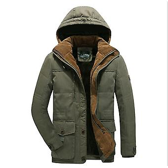 Men's Winter Cotton Parka Fur Lined Military Jacket With Removable Hood