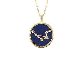 Zodiac Lapis Blue Gemstone Star Sign Pendant Necklace Gold Libra