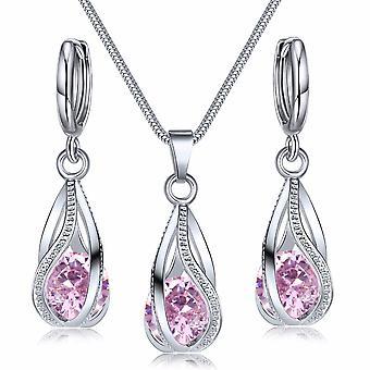 Ensemble de bijoux en cristal Boucles d'oreilles collier Zircon Ensemble décoration