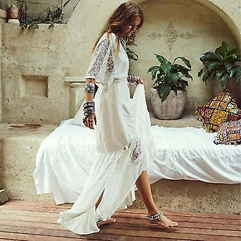 Crochet White Knitted Beach Cover-up Dress Tunic Long Beachwear