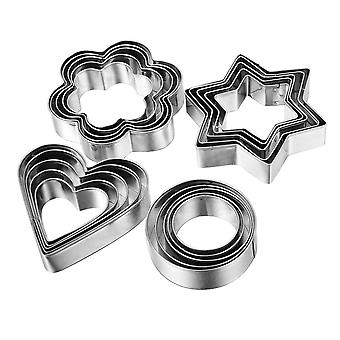 12 Pcs Baking Set Stainless Steel Biscuit Cookie Cutter Cake Cookie Cutter Mold With Precise Cut Outs Pleasant Handling