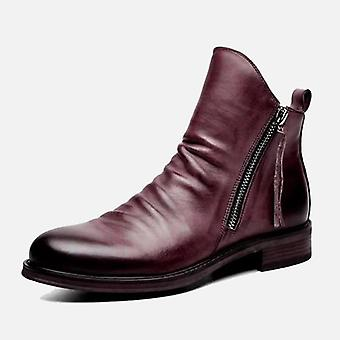 New Men Leather Boots, Fashion High-top Tassel Shoes
