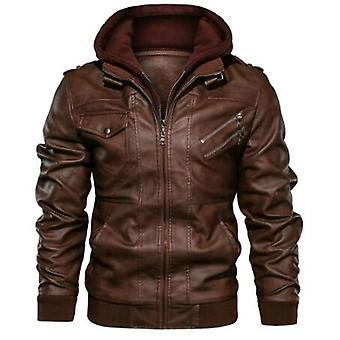 Men Leather Jacket Casual Motorcycle Genuine  Hooded
