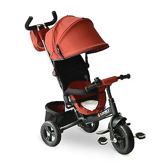 HOMCOM 3 in 1 Baby Tricycle Toddler Stroller Kids Pedal Tricycle w/ Pusher Removable Canopy Safety Belt Storage Footrest for 18 Months to 5 Years Red